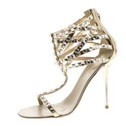 Giuseppe Zanotti Metallic Dull Gold Leather Crystal Embellished T Strap Sandals Size 37