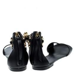 Giuseppe Zanotti Black Leather Gold Ring Open Toe Flat Sandals Size 38