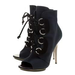Giuseppe Zanotti Blue Canvas Lace Up Peep Toe Booties Size 37.5