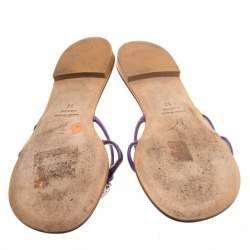 Giuseppe Zanotti Purple Leather Crystal Embellished Flat Sandals Size 36