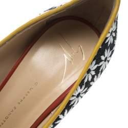 Giuseppe Zanotti Multicolor Fabric and Leather Peep Toe Platform Pumps Size 39