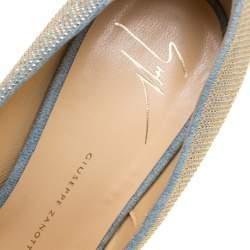 Giuseppe Zanotti Denim Blue Embellished Canvas Sharon Peep Toe Platform Pumps Size 38