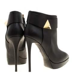 Giuseppe Zanotti Black Leather Pyramid Stud Platform Ankle Boots Size 40