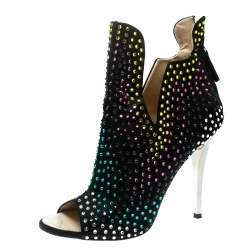 Giuseppe Zanotti Black Multicolor Crystal Embellished Suede Ankle Booties Size 39