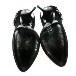 Giuseppe Zanotti Black Crystal Bow Embellished Suede Pumps Size 40