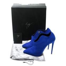 Giuseppe Zanotti Blue Suede Olinda Ankle Booties Size 37.5