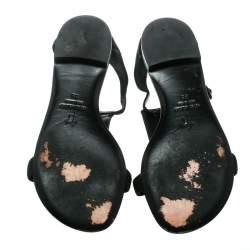 Giuseppe Zanotti Black Nubuck Leather Studded Flat Sandals Size 35