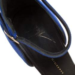Giuseppe Zanotti Black Leather And Blue Suede Safety Pin Ankle Strap Sandals Size 37