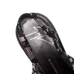 Giuseppe Zanotti Black Lace And Leather Peep Toe Platform Pumps Size 39