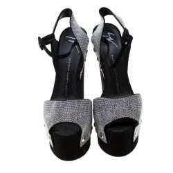 Giuseppe Zanotti Black Crystal Embellished Suede Platform Ankle Strap Sandals Size 39.5