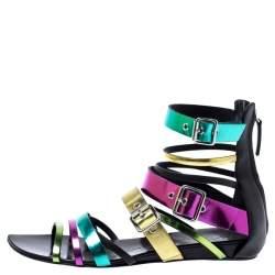 Giuseppe Zanotti Multicolor Leather Gladiator Flat Sandals Size 40