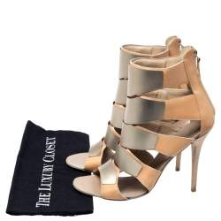 Giuseppe Zanotti Beige Leather Gladiator Embellished Cut Out Sandals Size 41