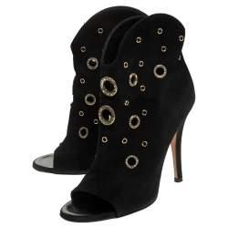 Giuseppe Zanotti Black Suede Embellished Eyelet Peep Toe Booties Size 36.5