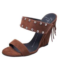 Giuseppe Zanotti Brown Studded Suede Taline Fringed Wedge Sandals Size 36