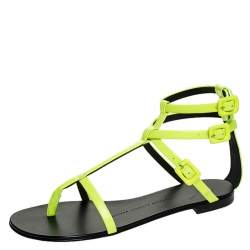 Giuseppe Zanotti Neon Green Leather Rock 10 T-Strap Flat Sandals Size 38