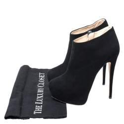 Giuseppe Zanotti Black Suede Platform Ankle Booties Size 37.5