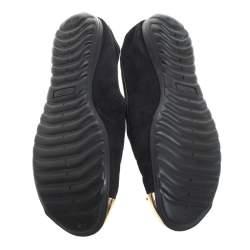 Giuseppe Zanotti Black Suede Gold-Tone Cap Toe Logo Embellished Smoking Slippers Size 36