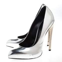 Giuseppe Zanotti Metallic Silver Pointed Toe Pumps Size 37
