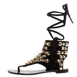 Giuseppe Zanotti Black Studded Suede  Ankle Wrap Flat Sandals Size 37