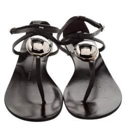 Giuseppe Zanotti Brown Leather Thong Flat Sandals Size 38