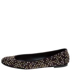 Giuseppe Zanotti Black Crystal Embellished Suede Ballet Flats Size 39