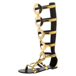 Giuseppe Zanotti Metallic Gold Leather Embellished Rylee Gladiator Flat Sandals Size 41