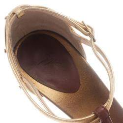 Giuseppe Zanotti Cognac & Gold Leather Metal Plated T-Strap Sandals Size 38.5