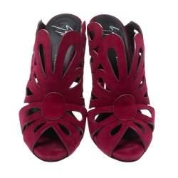 Giuseppe Zanotti Red Cutout Suede Peep Toe Sandals Size 38