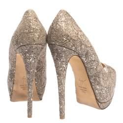 Giuseppe Zanotti Silver/Beige Coarse Glitter Lace Sharon Peep Toe Platform Pumps Size 38.5