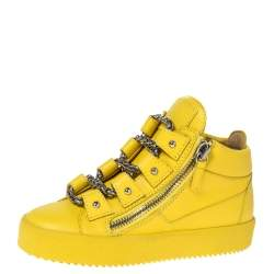 Giuseppe Zanotti Yellow Leather Gold Chain Laces Dual Zip Sneakers Size 35