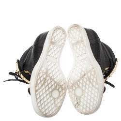 Giuseppe Zanotti Black Croc Embossed Leather Lorenz Wedge High Top Sneakers Size 37.5