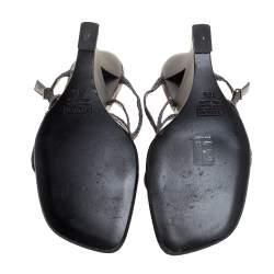 Giuseppe Zanotti Metallic Grey Woven Glitter Fabric Wedge Strappy Sandals Size 38.5