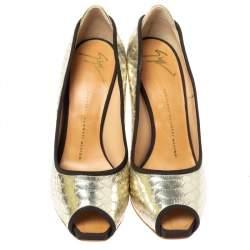 Giuseppe Zanotti Metallic Gold Python Embossed Leather Peep Toe Platform Pumps Size 38