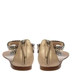 Giuseppe Zanotti Beige Leather Crystal Embellished Thong Flats Size 38.5