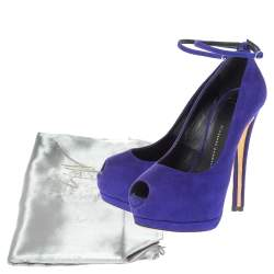 Giuseppe Zanotti Blue Suede Ankle Strap Peep Toe Platform Pumps Size 36