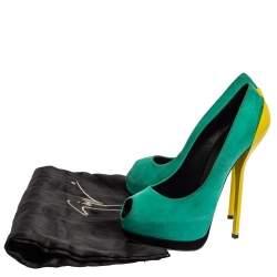 Giuseppe Zanotti Tricolor Suede Peep Toe Platform Pumps Size 36