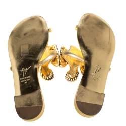 Giuseppe Zanotti Gold Fish Embellished Toe Ring Flats Size 37