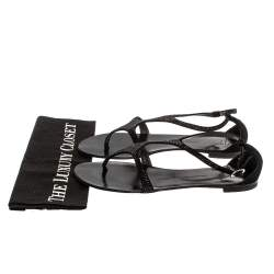 Giuseppe Zanotti Black Suede Crystal Embellished Flat Slides Size 39