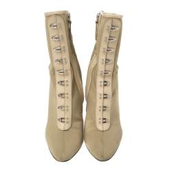 Giuseppe Zanotti Beige Fabric and Leather Trim Ankle Boots Size 37