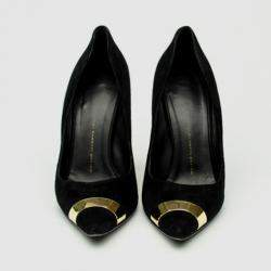 Giuseppe Zanotti Black Suede Pointed Toe Pumps With Gold Panel Size 40.5