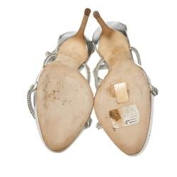 Giuseppe Zanotti Metallic Silver Leather Crystal Embellished Harmony Ankle Strap Sandals Size 41