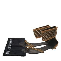 Giuseppe Zanotti Brown Suede Leather Studded Toe Ring Sandals Size 38.5