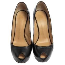 حذاء كعب عالى جوسيبى زانوتى نعل سميك مقدمة مفتوحة مونورو جلد أسود مقاس مقاس 37.5