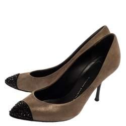 حذاء كعب عالى جوسيبى زانوتى غطاء مقدمة زخرفة كريستال مافا سويدى رمادى ميتالك مقاس 38.5