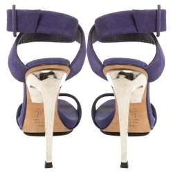 Giuseppe Zanotti Blue Suede Metal Heel Ankle Wrap Open Toe Sandals Size 36