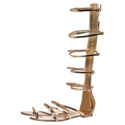 Giuseppe Zanotti Rose Gold Patent Leather Rylee Gladiator Flat Sandals Size 38.5