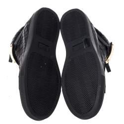 حذاء رياضي جوسيبي زانوتي كوبي مرتفع من أعلى جلد لامع و سويدي بيج و برتقالي نيون مقاس 39