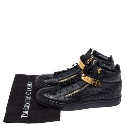 Giuseppe Zanotti Black Croc Embossed Leather Coby High Top Sneakers Size 40