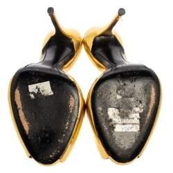 Giuseppe Zanotti Gold Patent Leather Peep Toe Sandals Size 37