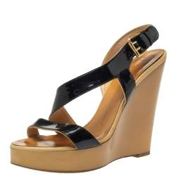 Giuseppe Zanotti Black Patent Leather Lucite Wedge Heels Sandals Size 38